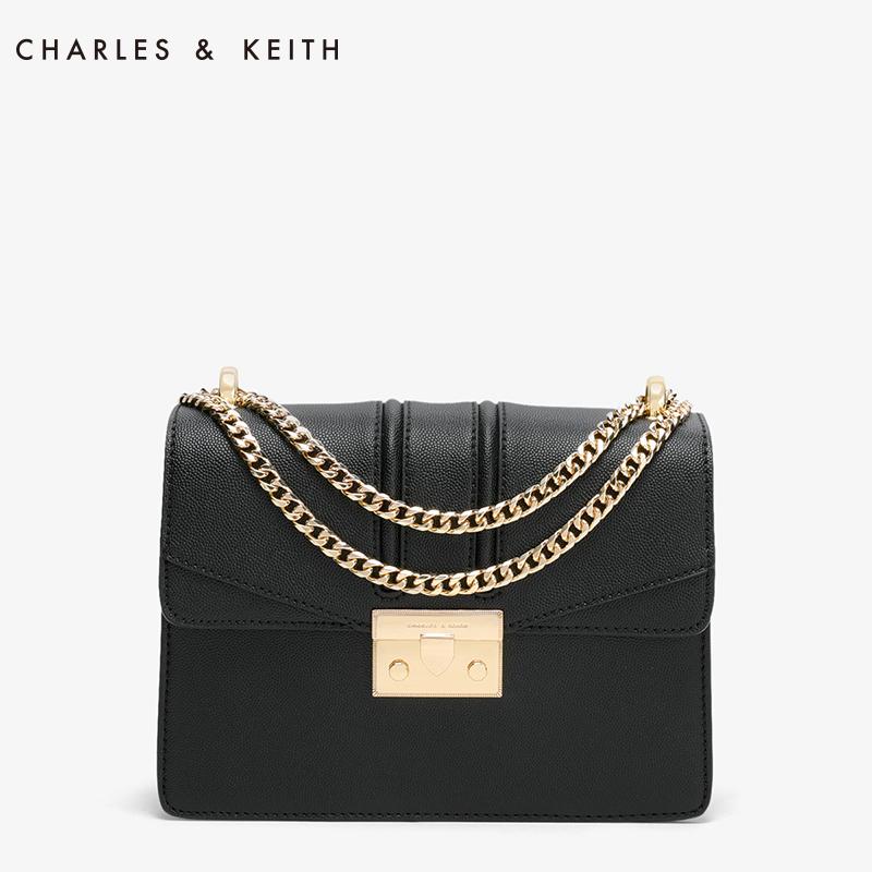CHARLES@KEITH酒神包复古锁扣单肩包链条包手拎包斜跨包 黑